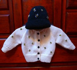 Baby Bee, knitted Cardigan and Hat
