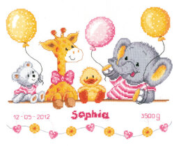 Vervaco Baby Shower Birth Sampler Cross Stitch Kit - 27cm x 22cm