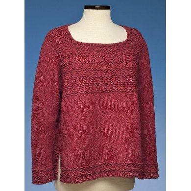Square Neck Side Slit Pullover #174
