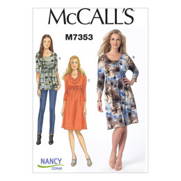McCall's Misses' Raised Elastic-Waist Top and Dresses M7353 - Sewing Pattern