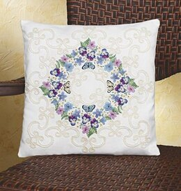 Janlynn Floral Fantasy Pillow Embroidery Kit - 35.5 x 35.5 cm