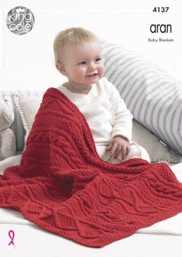 Blankets in King Cole Big Value Recycled Cotton Aran - 4137 - Downloadable PDF