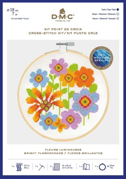 DMC Bright Flowerheads Cross Stitch Kit (with 7in hoop)