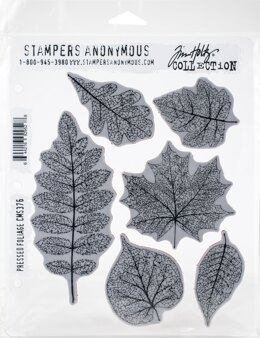"Stampers Anonymous Tim Holtz Cling Stamps 7""X8.5"" - Pressed Foliage"