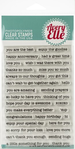 "Avery Elle Clear Stamp Set 4""X6"" - Simple Sentiments"
