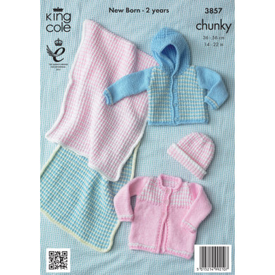 Baby Blanket, Hat and Jacket in King Cole Big Value Chunky - 3857