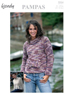 Sweater with Bow in Wendy Pampas & Frizzante - 5314