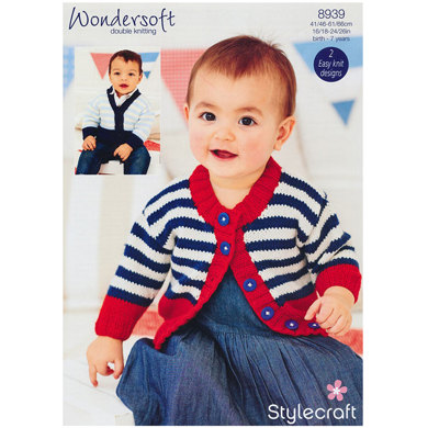 Unisex Baby Cardigans in Stylecraft Wondersoft DK - 8939