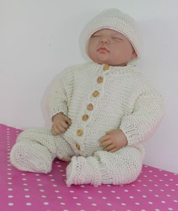 Baby Romper Suit Booties and Beanie Hat