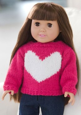 Love My Doll Sweater in Red Heart Shimmer Solids - LW2647
