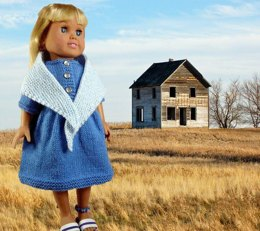 Prairie Dress, Shawl, & Ankle Bracelet, Knitting Patterns fit American Girl and other 18-Inch Dolls