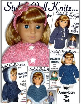 5 pdf knitting patterns. Fits 18 inch and American Girl Doll 03