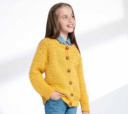 Child's Crochet Crew Neck Cardigan in Caron Simply Soft - Downloadable PDF