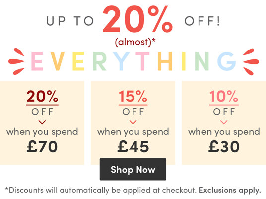 20 percent off (almost) EVERYTHING full-priced when you spend £70!