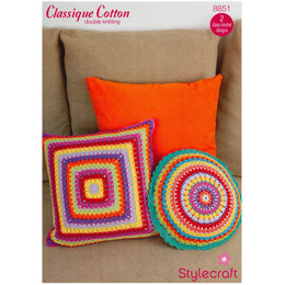Crochet Cushion Covers in Stylecraft Classique Cotton DK - 8851