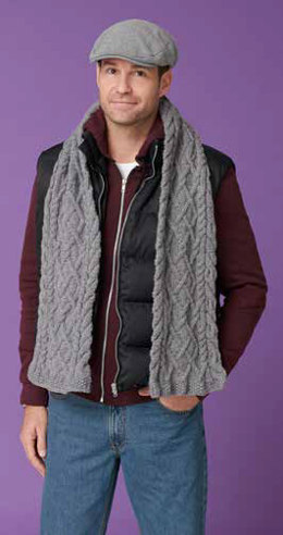 Men's Cabled Scarf in Caron United - Downloadable PDF