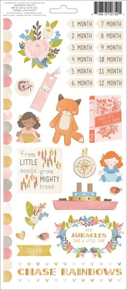 "American Crafts Little Adventurer Cardstock Stickers 5.5""X12"" 2/Pkg - Girl Accents & Phrases W/Foil"