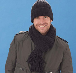 Men's Basic Hat & Scarf in Caron United - Downloadable PDF