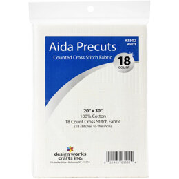 "Design Works Gold Quality Aida 18 Count W3502 - White - 20""X30"""
