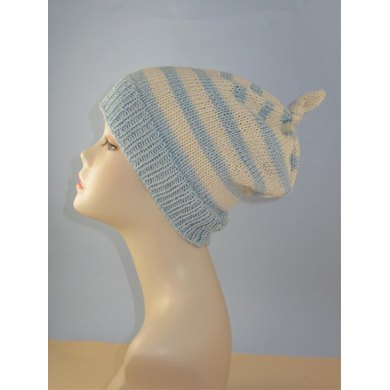 Simple Stripe Topknot Slouch hat