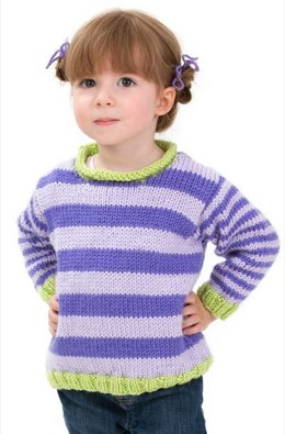 Stripe it Easy Pullover in Red Heart Soft Baby Steps Solids - LW3236
