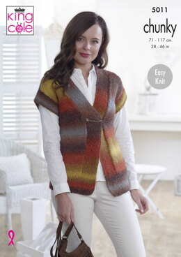 Waistcoat & Top in King Cole Riot Chunky - 5011 - Downloadable PDF