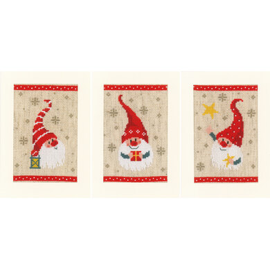 Vervaco Greeting Cards Christmas Gnomes (Set of 3) Cross Stitch Kit