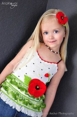 Poppy Tank Top Hand Knitted with crochet details