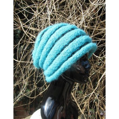 Chunky Roll Brim Stripey Beehive Slouch Hat