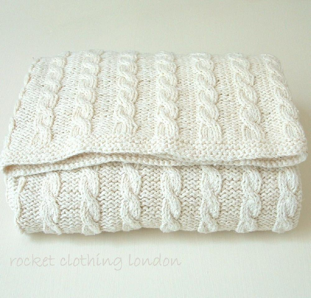 Baby Blanket Classic Cable Knitting pattern by Rocket Clothing Lon...