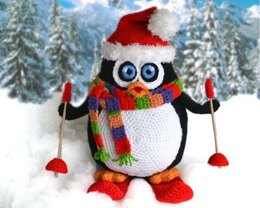 Large Christmas penguin amigurumi toy