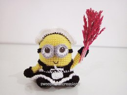 Amigurumi Frenchie the 2 eyed Minion in a French Maid Outfit