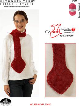 Go Red Heart Scarf in Plymouth Encore Worsted - F139