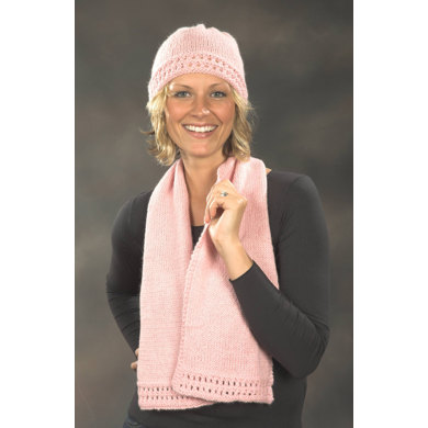 Breast Cancer Awareness Scarf Hat In Plymouth Baby Alpaca Worsted