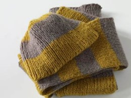 Stripes of Gold Beanie Hat and Scarfin Lion Brand Jiffy - 70063