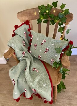 Candy Cane Christams blanket and matching cushion
