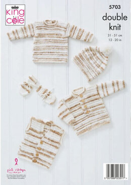 Sweaters, Waistcoat, Hat and Mittens in King Cole Baby Stripe DK - 5703 - Leaflet