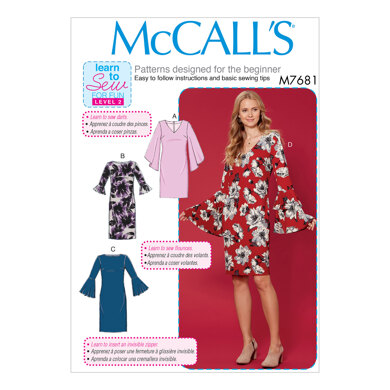 McCall's Misses' Dresses with Flounce Sleeve Variations M7681 - Sewing Pattern