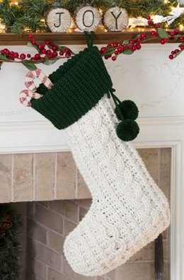 Crochet Cable Stocking in Red Heart Super Saver Economy Solids - LW3209
