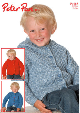 Boys Cardigan with Round Neck or Hood in Peter Pan DK - 1085
