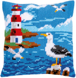 Vervaco Lighthouse & Seagull Cushion Cross Stitch Kit - 40cm x 40cm