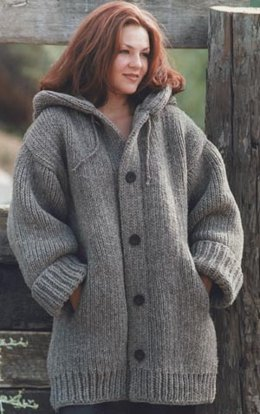 Hand-Knit Danbury Hooded Sweater Jacket in Lion Brand Wool-Ease Chunky - 60588