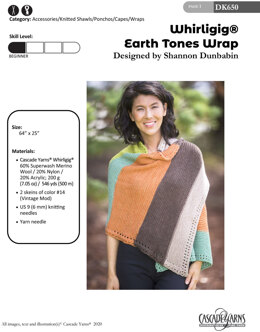 Earth Tones Wrap in Cascade Yarns Whirligig - DK650 - Downloadable PDF