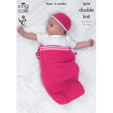 Snuggle Sack, Jacket, Cardigan and Hat in King Cole Comfort DK and Comfort Prints DK - 3678
