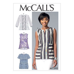 McCall's Misses' Split-Neck, Seam-Detail Tops M7390 - Sewing Pattern