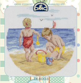 Creative World Of Crafts By The Seaside Cross Stitch Kit (with Sewing Tin) - 25cm x 25cm