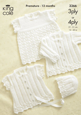 Cardigans, Bonnet and Angel Top in King Cole 3 Ply and 4 Ply - 3366