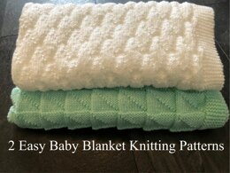 2 x Easy baby blanket - Simple Tiangles and Diamonds