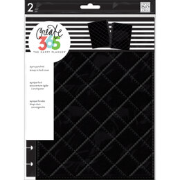 "Me & My Big Ideas Happy Planner Medium Snap-In Hard Planner Cover 9.75""X7.75"" - Black Quilted"