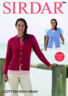 Long and Short Sleeved Cardigans in Sirdar Cotton Rich Aran - 7889  - Downloadable PDF